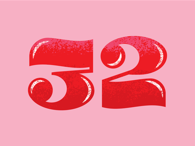 32 pink red 2 3 32 numerals numbers custom lettering lettering