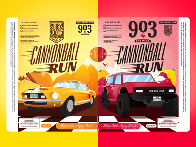 Cannonball Run Labels - Wiley Roots & 903 Brewers Collab marketing collaboration animation illustration race cars packaging label labels beer