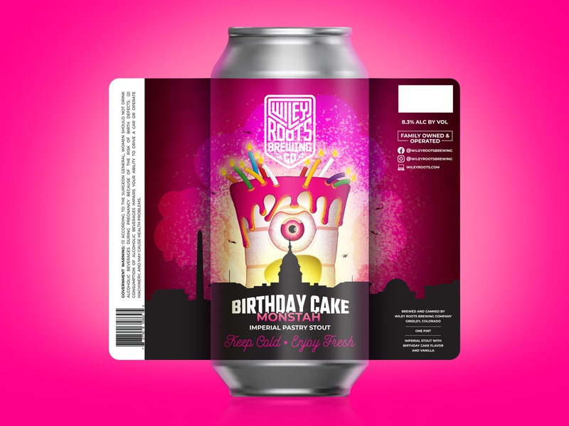 Birthday Cake Monstah monster beer label beer packaging