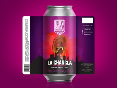 La Chancla Monstah illustration skyline monster sandal beer label beer label