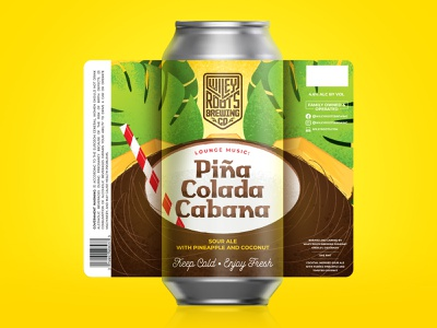 Piña Colada Cabana - Label illustration custom lettering lettering packaging label