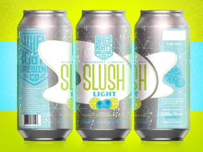 Slush Light - Blueberry Limeade packaging mockup beer art beer can packaging design blueberry lime green blue light beverage brand beer brand packaging