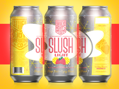 Slush Light - Strawberry Lemonade strawberry lemon yellow packaging mockup mockup beer label branding brand packaing beer branding beer can beer