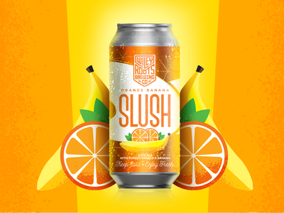 Orange Banana Slush Label packaging mockup mockup orange banana packaging design label brewery beer brand brand packaging can