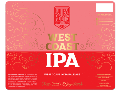 West Coast IPA Label layout typography type custom type lettering packaging label