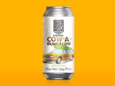 Cow-a-bungalo Label beer brand brand campy retro paneling wood car station wagon illustration packaging label beer