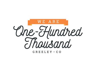 We Are One Hundred Thousand - Event Logo event roboto slab ribbon script logo