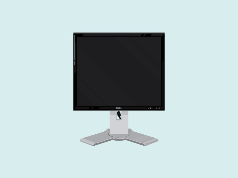 Monitor dell monitor flat illustration