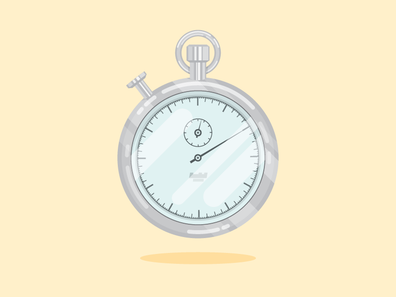 Stopwatch metal shiny flat clock stopwatch illustration