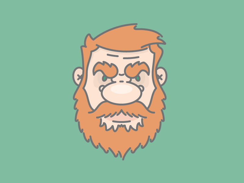 Grumpy Man beard angry grumpy irish redhead flat character design