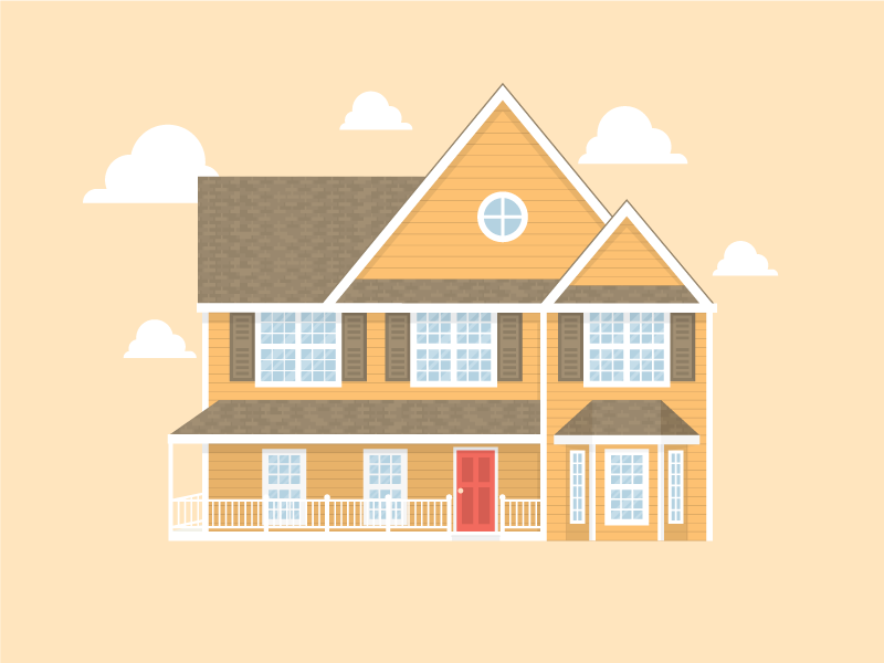 House clouds home house flat illustration