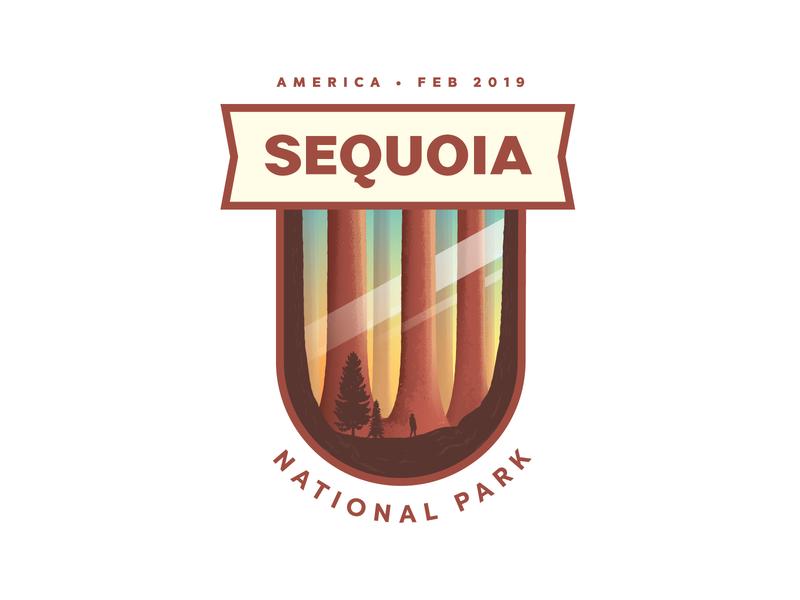 Sequoia National Park forest trees type design type lettering custom sans serif national park sequoia badge