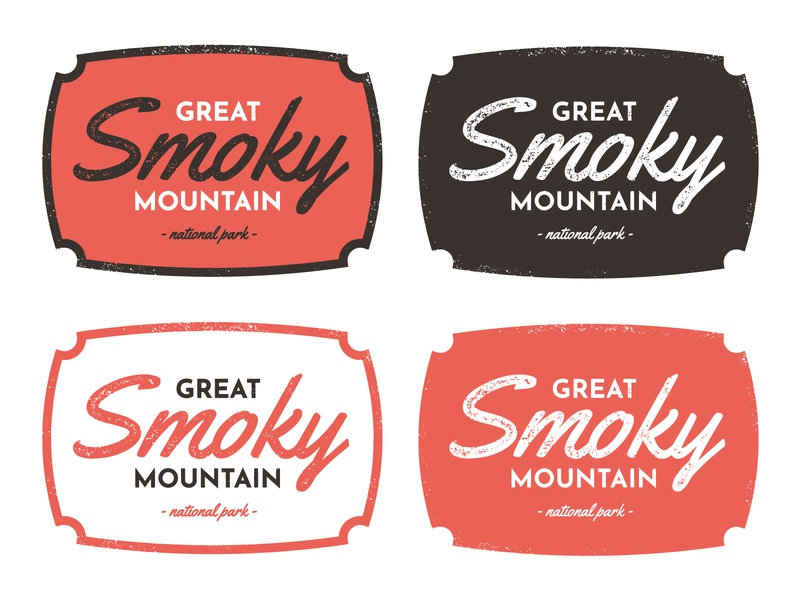 Exploration - Smoky Mountain National Park Badge script font texture mountain national park smoky badge