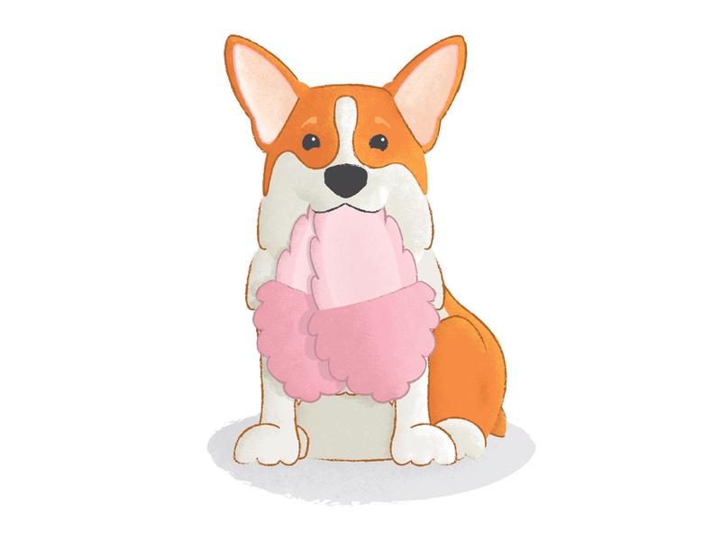 Corgi Illustration pet dogge doggy slippers texture illustration dog corgi