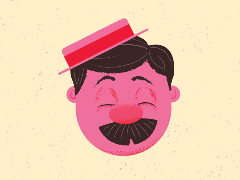 Barbershop Singer character texture warm black pink mustache singer barbershop illustration