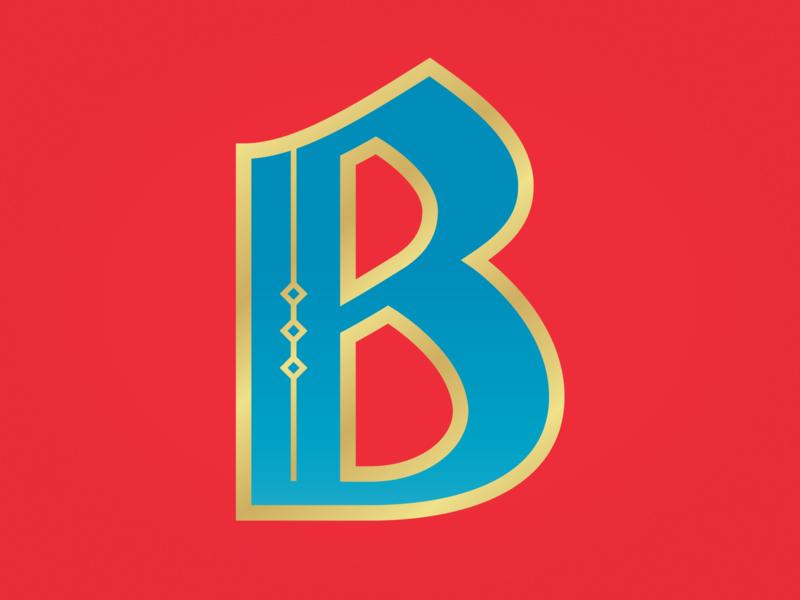 B circus red gold blue custom type lettering black letter b