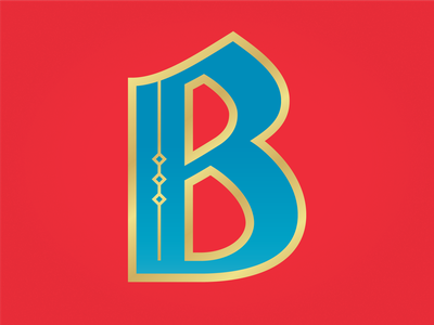 B circus red gold blue custom type lettering black letter b