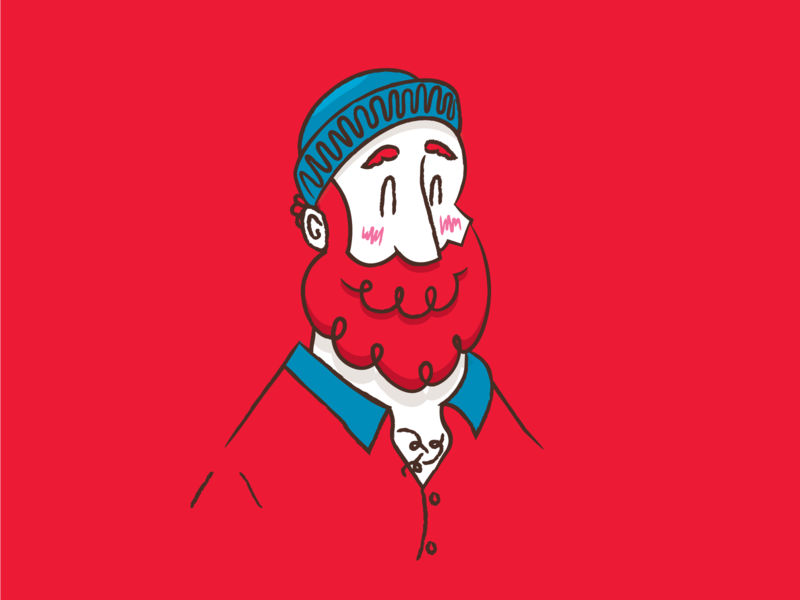 Paul Bunyan character blue red mountain man illustration
