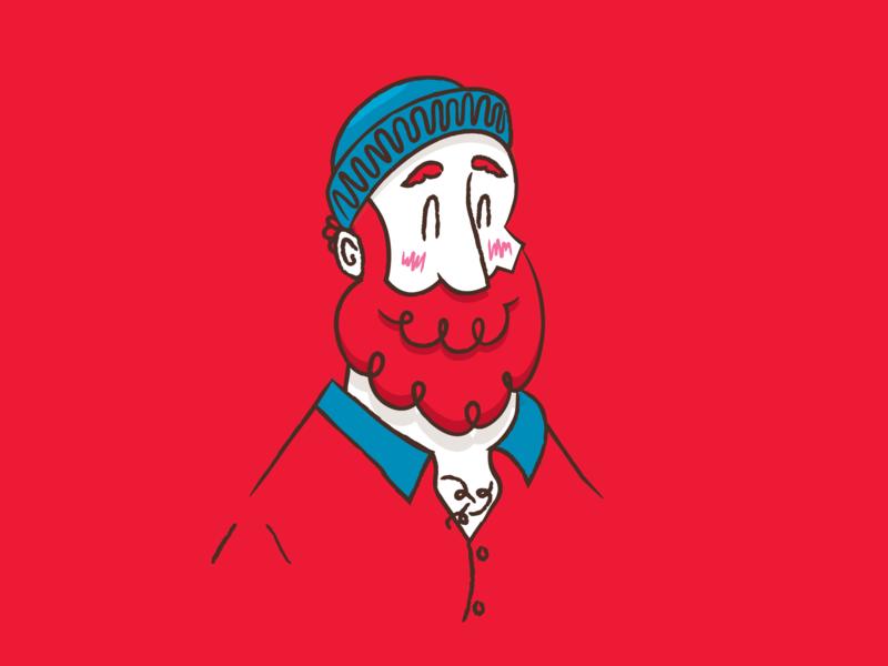 Paul Bunyan character blue red mountain man illustration