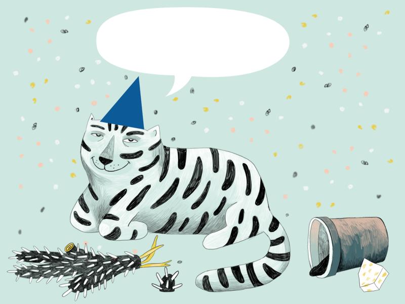 Partycat confetti cactus postcard party cat illustration