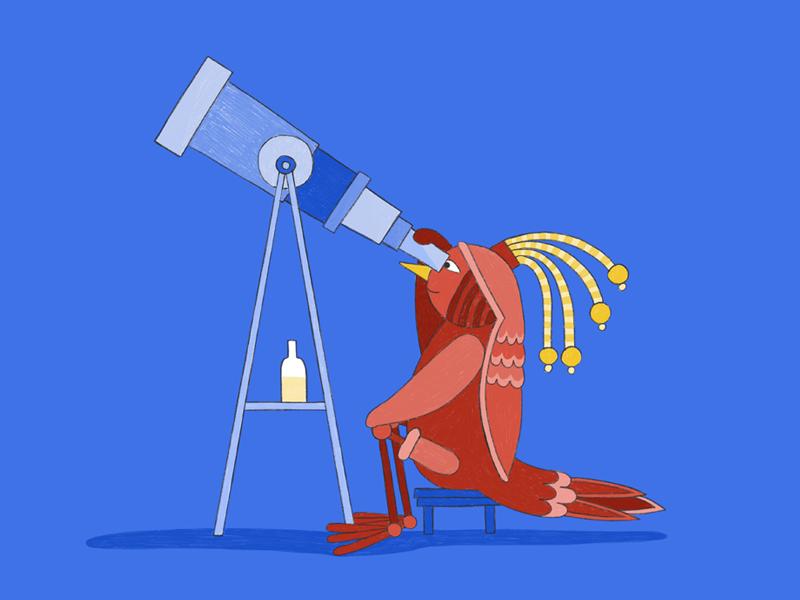 BIRD_Life on Mars telescope stars drawing copenhagen bird pencil crayon hamburg illustration