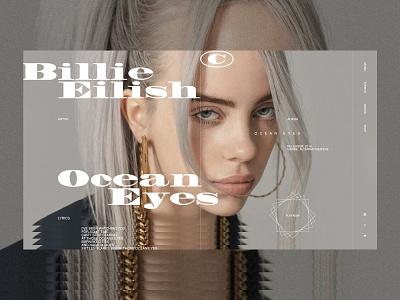 Billie Eilish - artist personal brand artist portfolio site portfolio album billie eilish music musician branding logo fashion grid typography ux ui web