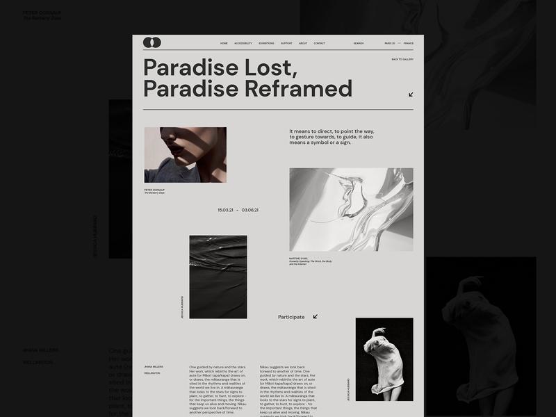 Exhibitions website minimal promo exibition uidesign desktop gallery art gallery branding clean grid typography ux ui web