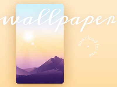 Wallpaper for iPhone & Android 2016 freebie sun pink mountain wallpaper android iphone mobile illustration