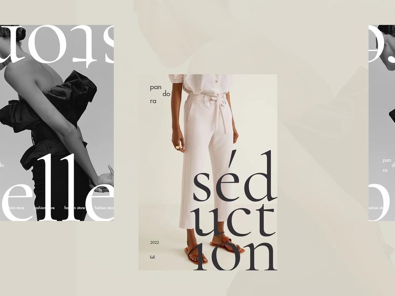 Pandora shop store print design print branding photo logo fashion calligraphy grid clean typography