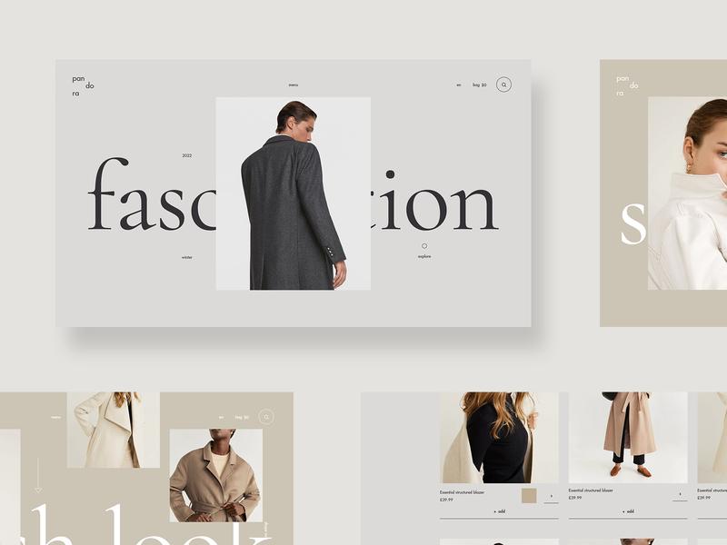 Pandora - online shop fashionstore clothes online shop branding shop store logo fashion clean grid typography ux ui web