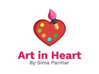 Art In Heart Logo Design heart graphicdesign vector symbol icon branding logo design