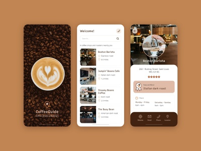 Coffee Guide App Design coffee app shop ux application mobile minimal guide ui design
