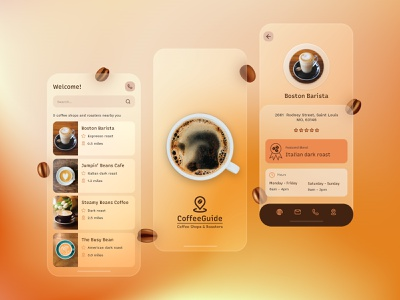 Coffee Guide App Design guide shop coffee minimal ux ui design app mobile glassmorphism