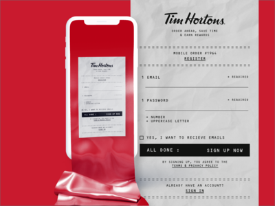 Tim Hortons Sign In Page app ui receipt app design designer tim hortons dailyui uidesign design