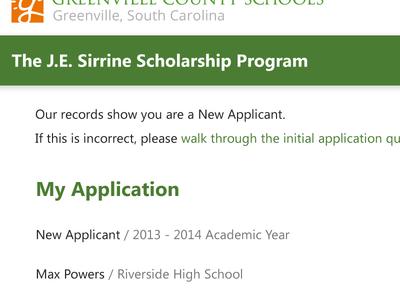 Sirrine Scholarship Home Page