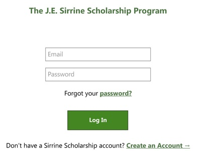 Sirrine Scholarship Login Page