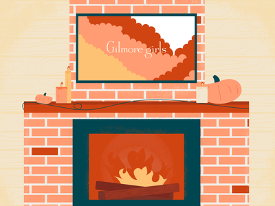 Gilmore Girls fire fireplace illustrator illustration weeklywarmup cozy fall gilmore girls