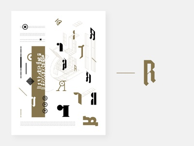Poster - Personal Identity letters iteration constructed type typography bronze design letter r r identity process poster