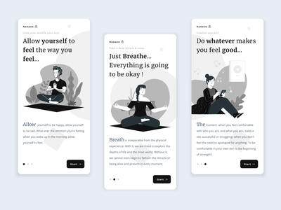 Feel,Breathe & Comfort 🧘🏻‍♂️ flat clean illustration graphic design web typography app design ux ui