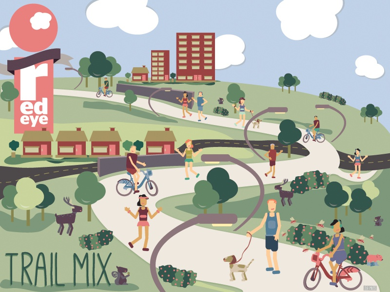 Trail Mix the 606 redeye outdoor exercise urban chicago trees clouds dog walker biker runner outdoors trail