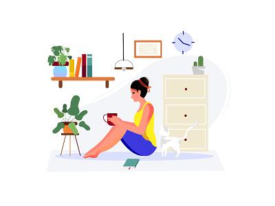 Relaxing banner illustration 2d art girl blue banner illustrations relaxing trend 2020 women 2d design graphic girl illustration girl character illustration