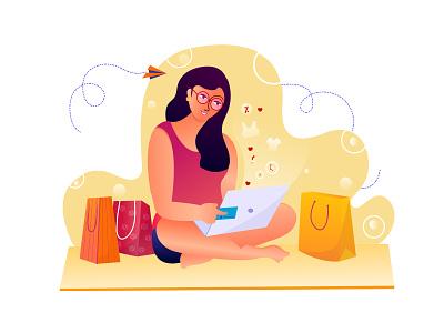 Online Shopping clean yellow minimal 2021 trend girl character quarantine shopping design women girl illustration girl illustration