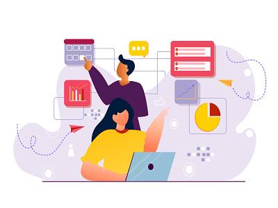 Multi-tasking office management time schedule work multitask minimal branding design ui women girl illustration illustration