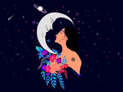 Selenophile (The Moon loves her) first shot firstshot moon and girl girl character girl illustration girl moon illustration graphic