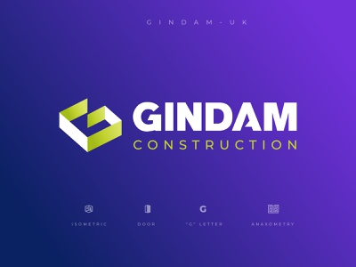 GINDAM concept design geometric art geometrical geometric geometry door isometric letters letter brand identity brand design construction logo constructor consulting bienesraices construccion construction design vector branding