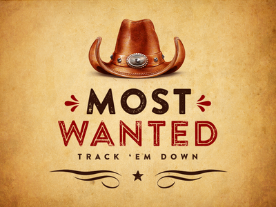 Most Wanted logo country western cowboy wild west