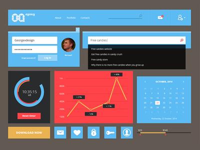Flat UI kit  /.PSD Freebie/