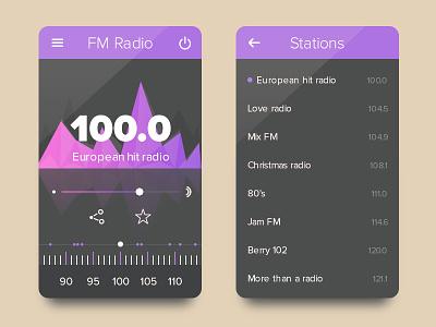 Radio UI (Freebie - .PSD) ui kit flat ux radio freebie psd volume clean dark