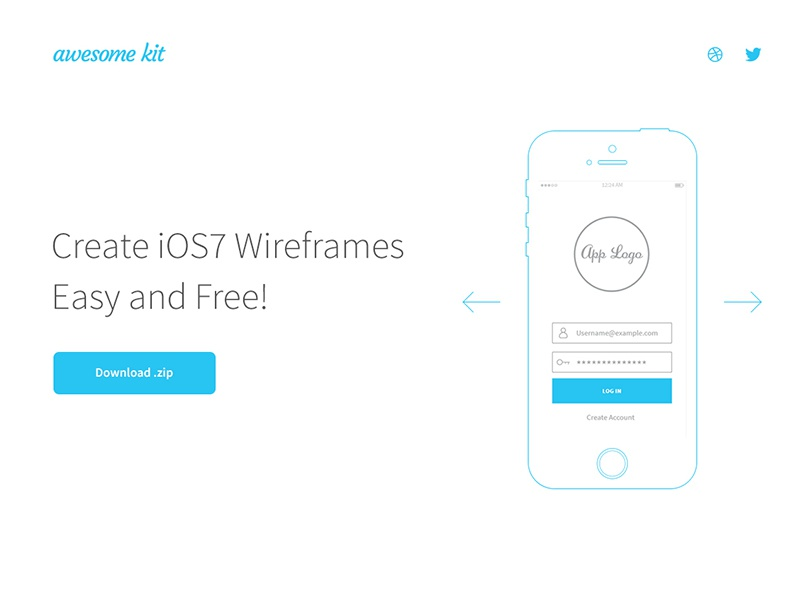 Awesome UX Kit 1.0, Now Available - FREE ux ui flat wireframes kit download ai psd tool prototyping website