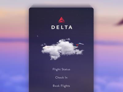 Delta flight app concept - splash screen status book check in ux ui screen flight delta